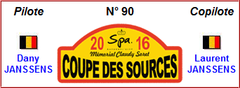 Coupe des Sources 2016 - Drivers : Dany Janssens - Laurent Janssens